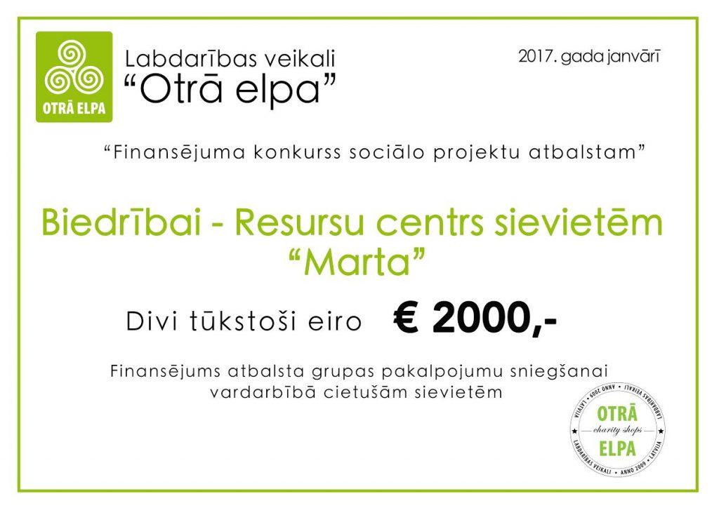 Marta 2000 eur ceks 2017-